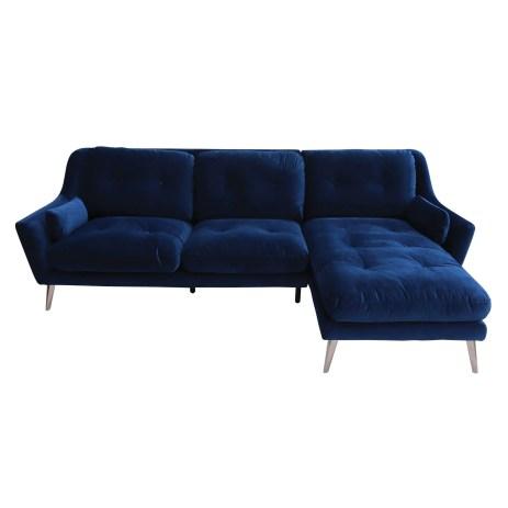 Santiago Blue Velvet RHF Corner Sofa
