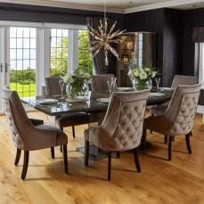 Medina High Gloss 200cm Extending Dining Table & 6 Metz Latte Chairs