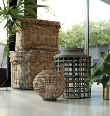 Set Of 2 Rattan Hampers and Bamboo Lanterns