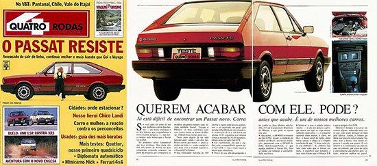 Capa e páginas internas da Quatro Rodas de abril de 1988, já anunciando que o fim do Passat estava próximo.
