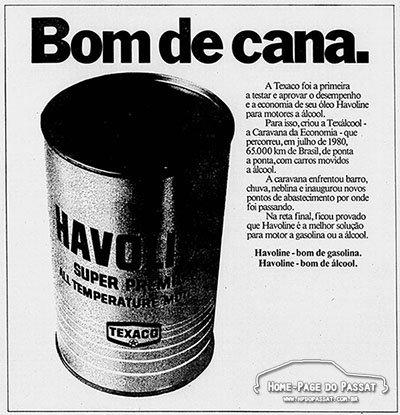 Anúncio de óleo Havoline em 1980, exaltando a eficiência do lubrificante em motores à álcool.