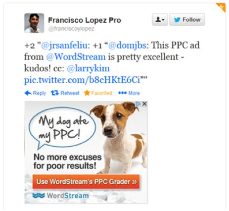 """remarketing ad from wordstream with a puppy on it that says """"my dog ate my ppc! no more excuses for poor results"""""""