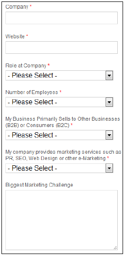 Contact fields in a lead-capture form