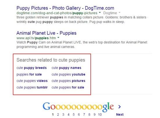 """عمليات البحث ذات الصلة في الجزء السفلي من Google SERP والتي تقرأ """"عمليات البحث المتعلقة بالجراء اللطيفة"""" جنبًا إلى جنب مع اقتراحات الكلمات الرئيسية"""