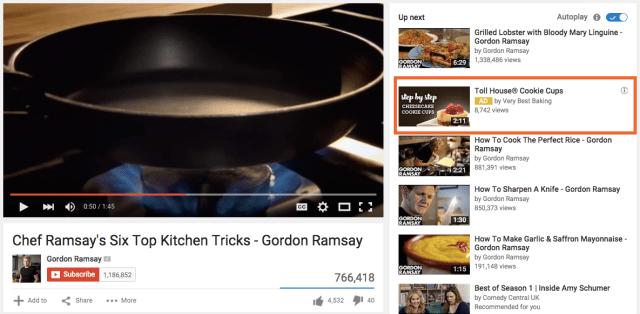 Annuncio TrueView In-Display nella barra laterale dei video correlati di YouTube