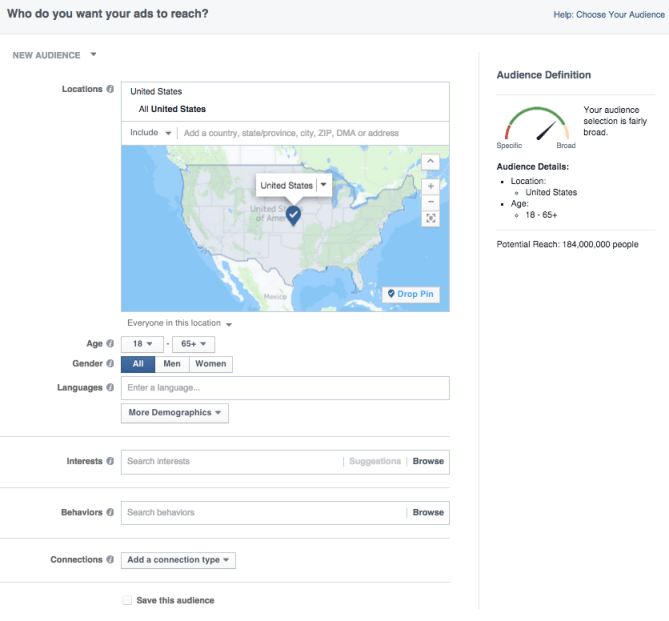 Audience creation page in the Facebook Ad Manager