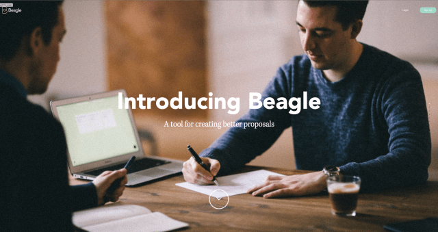 Homepage of Beagle, an award-winning website