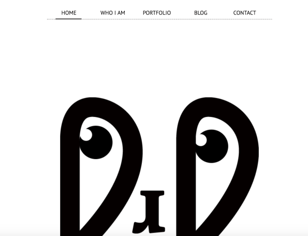 minimalist web design with just a menu and a face
