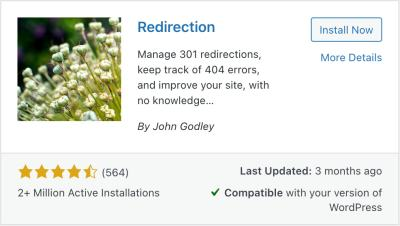 the redirection plugin for adding 301 redirects in wordpress