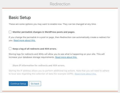 the basic setup menu in the redirection plugin  for adding 301 redirects in wordpress