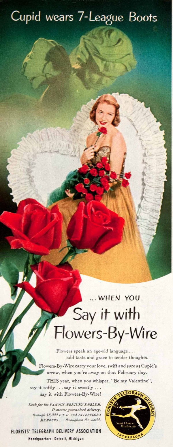 Valentine's Day advertisement with red roses and a woman in a gold dress
