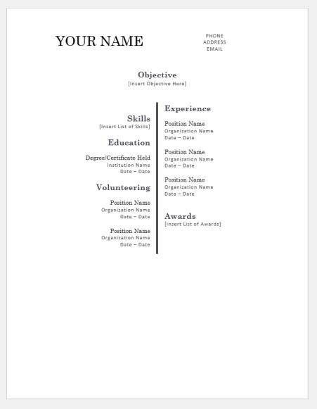 Centered Bar Resume