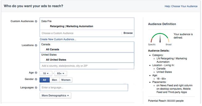 Facebook Ads target audience selection menu