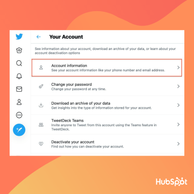 """how to change twitter handle: select """"account information"""""""