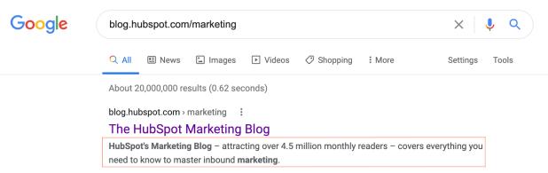 Meta description example for the HubSpot Marketing Blog
