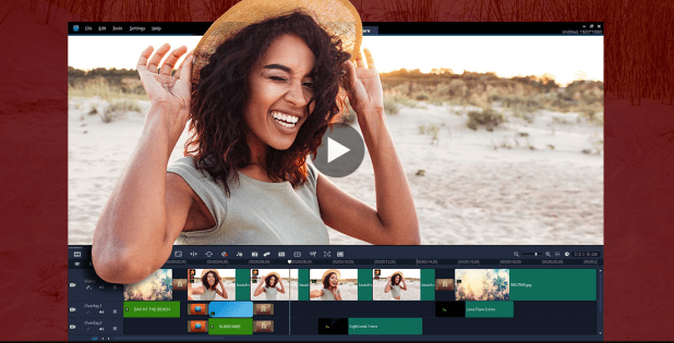 VideoStudio video editing software displaying shot of woman and audio layering