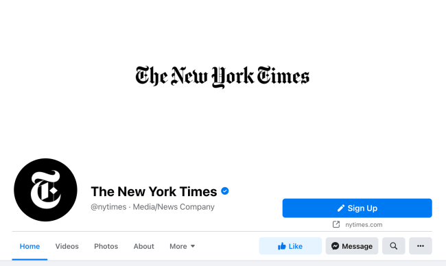 Facebook cover photo example featuring the New York Times