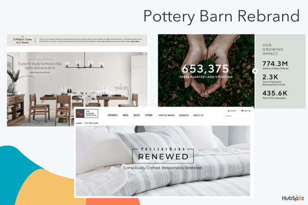 Pottery Barn's rebranding materials
