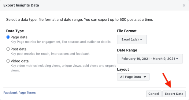 facebook insights export data page