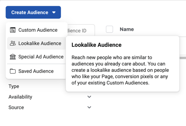 Facebook ads audiences.
