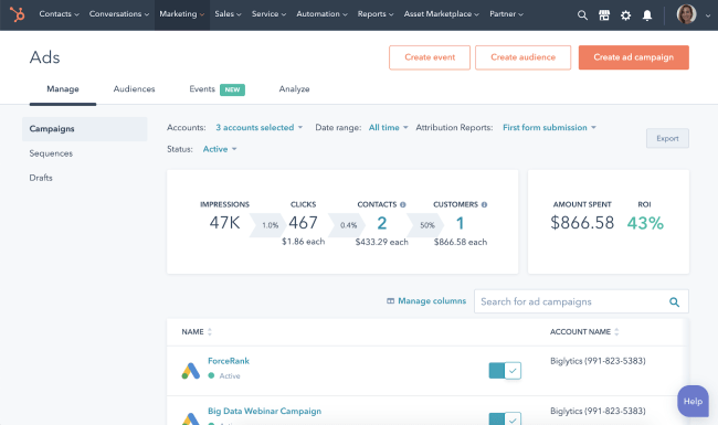 HubSpot's free ad tracking software