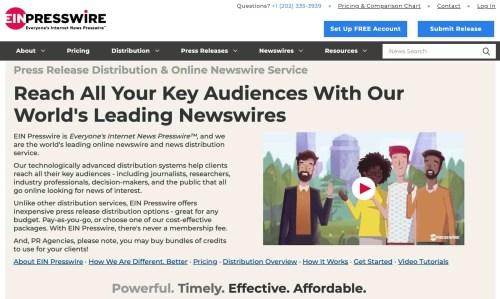 press release distribution service homepage by EIN Presswire