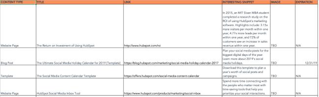 Social media calendar and content repository
