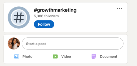 Linkedin hashtag example for growth marketing