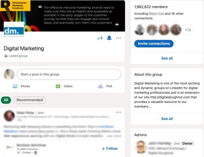 LinkedIn Group dashboard