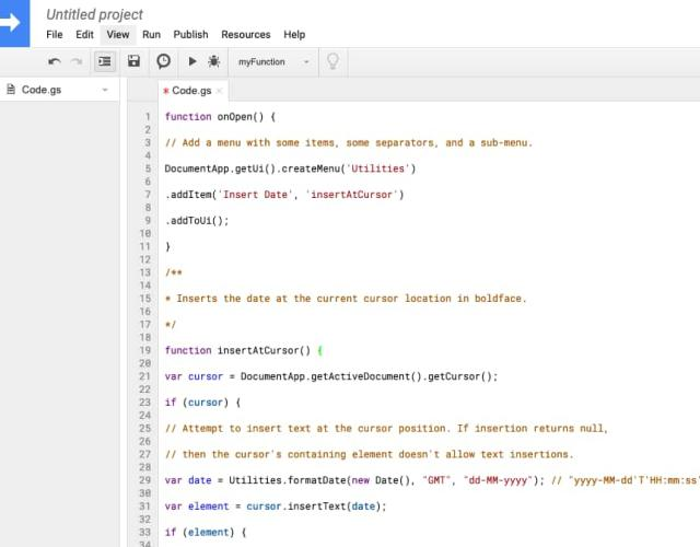 Google Script Editor with code inserted