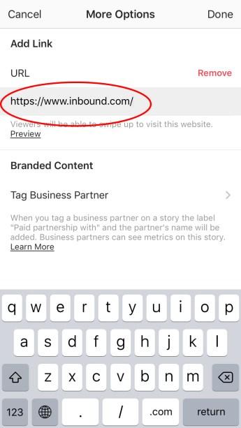 Add Link to Instagram Story: Designate URL