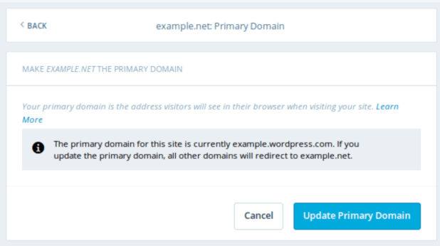primary domain for WordPress website