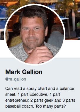 Mark Gallion's professional bio on Twitter