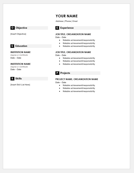 Monogram Header Resume
