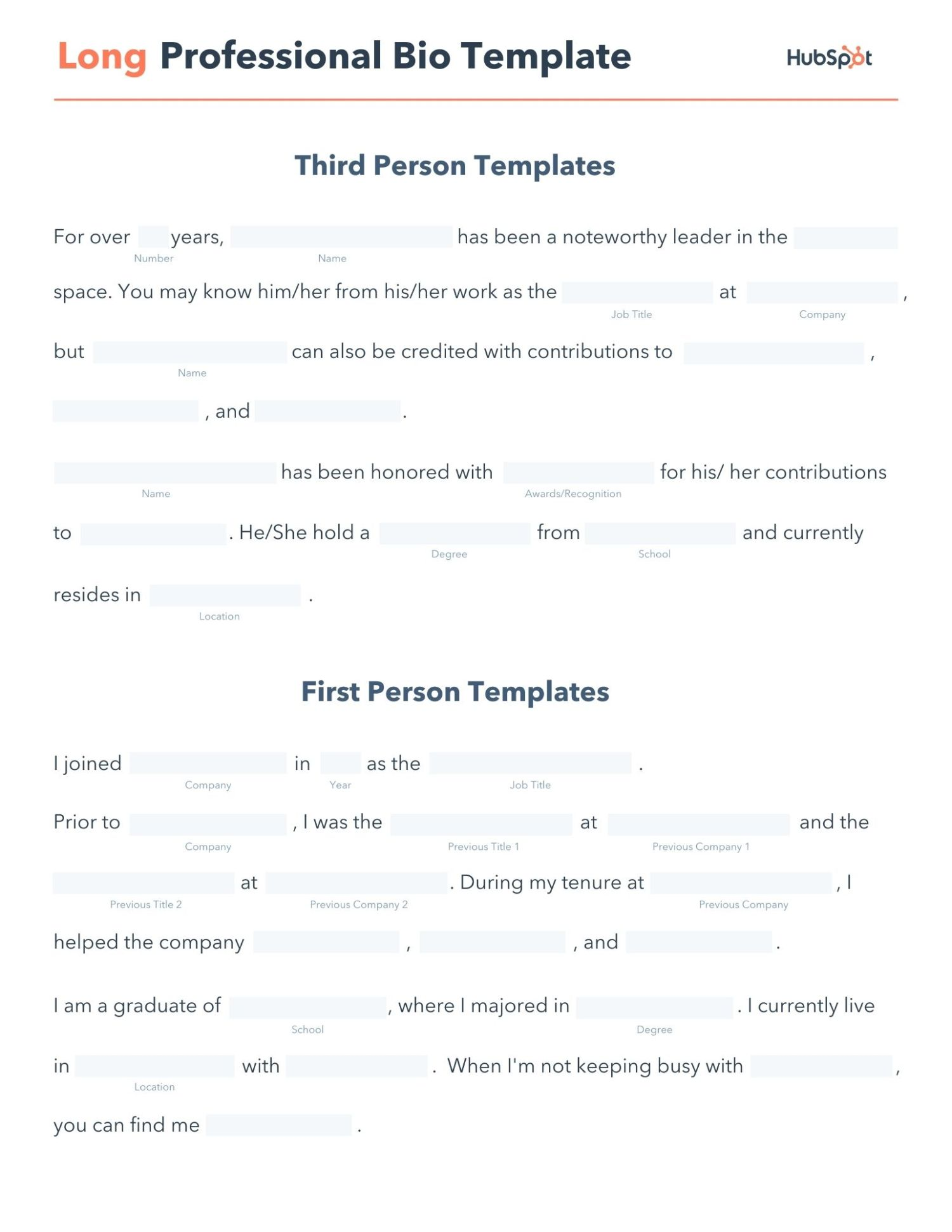 free editable long professional bio pdf template