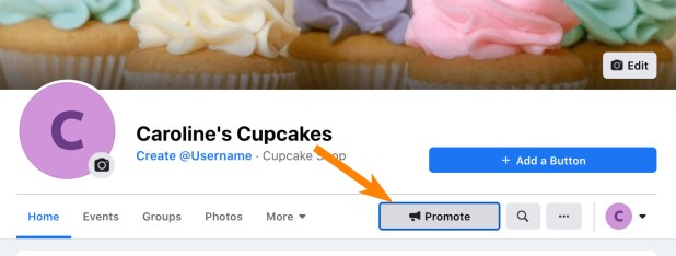 The Promote button on your company's homepage, which you need to click to find the boost an event tool
