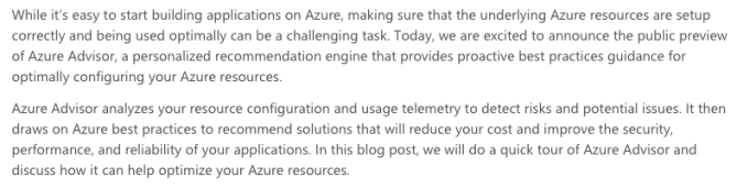 Azure Advisor Intro