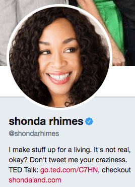 Funny twitter bio from @Shondarhimes