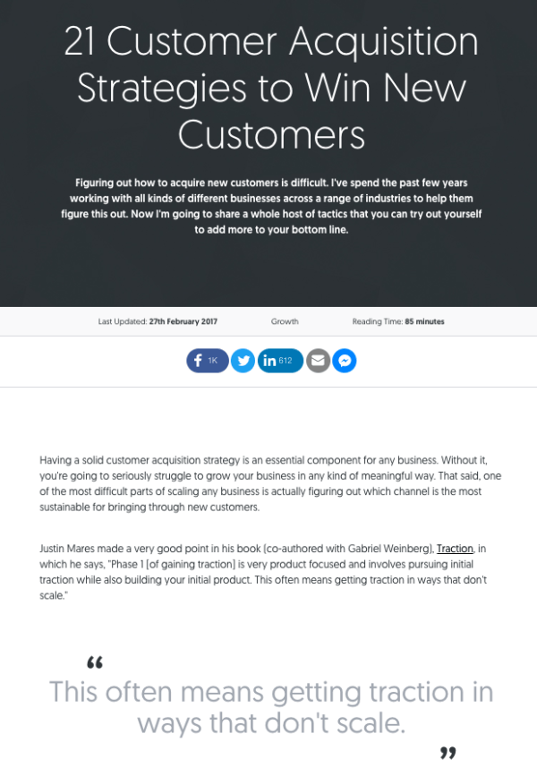 Pillar page on customer acquisition strategies by Matthew Barby