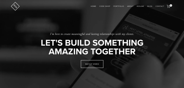 Personal demo of Devon Stank with black homepage and 'Let's Build Something Amazing Together' written across the front
