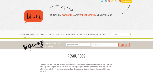 Blurt Foundation's nonprofit Resources page as a content marketing example