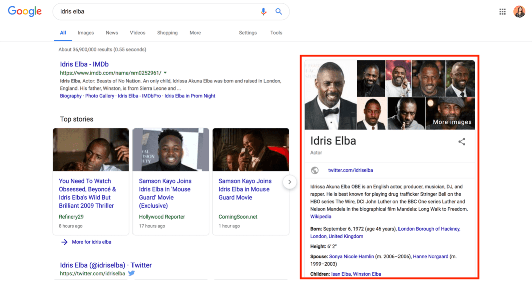 search results page for idris elba search