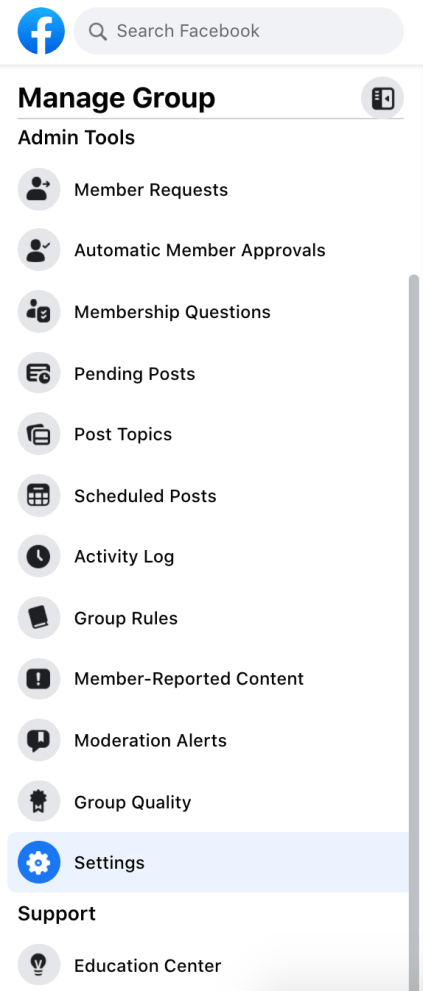 manage group dashboard on facebook
