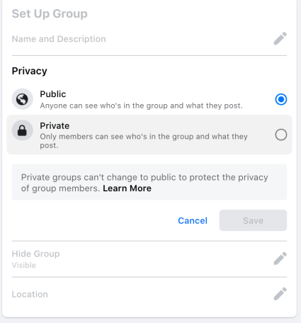 changing your group to private on facebook