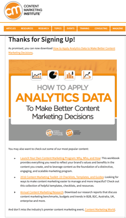 Content Marketing Institute's Thank You page