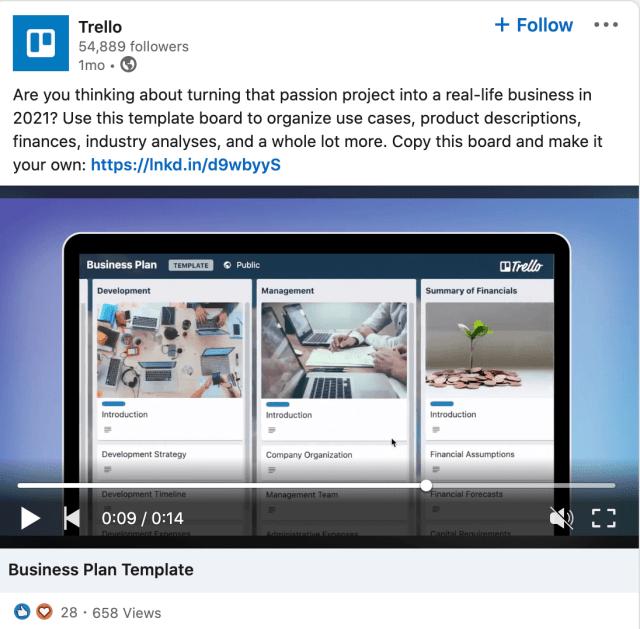 A Trello advertisement on LinkedIn.