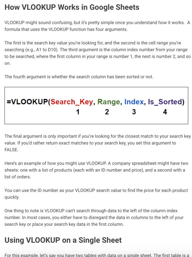 Google Sheets 'How VLookups Work' Guide