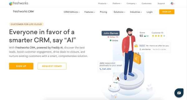 Meilleur exemple de logiciel de gestion des contacts de Freshworks