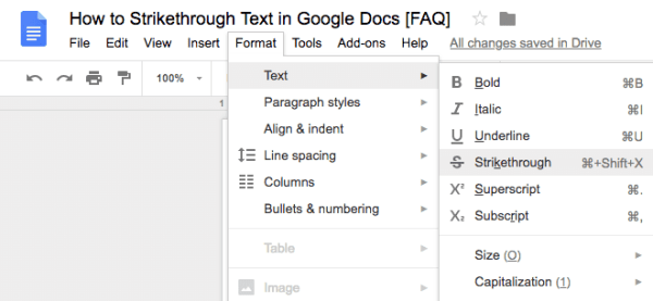 google doc strikethrough