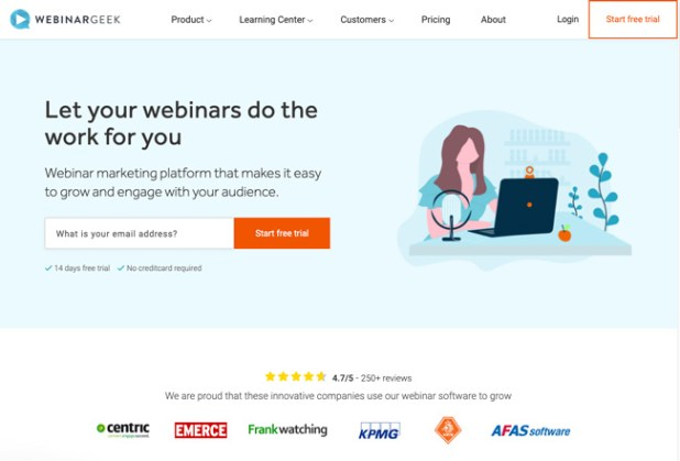 WebinarGeek Website Homepage of animated woman recording a webinar on laptop
